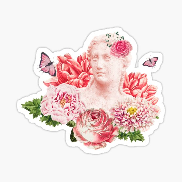 Greek Woman Statue With Roses Sticker
