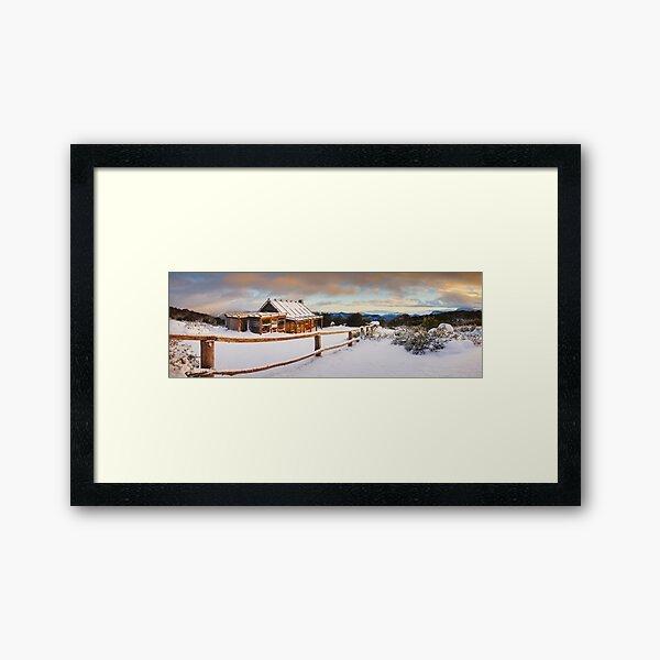 Craigs Hut Winter Dawn, Mt Stirling, Victoria, Australia Framed Art Print