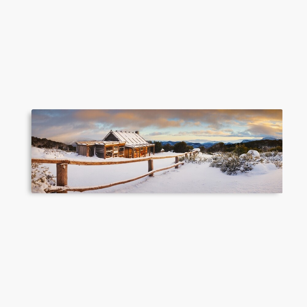Craigs Hut Winter Dawn, Mt Stirling, Victoria, Australia Canvas Print