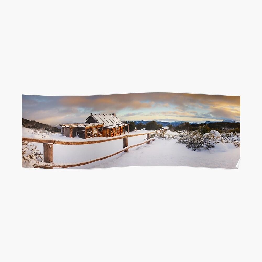 Craigs Hut Winter Dawn, Mt Stirling, Victoria, Australia Poster