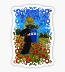 Umbrella girl with space and time traveller box art painting Sticker
