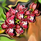 red Orchids on abstract... by Wieslaw Jan Syposz