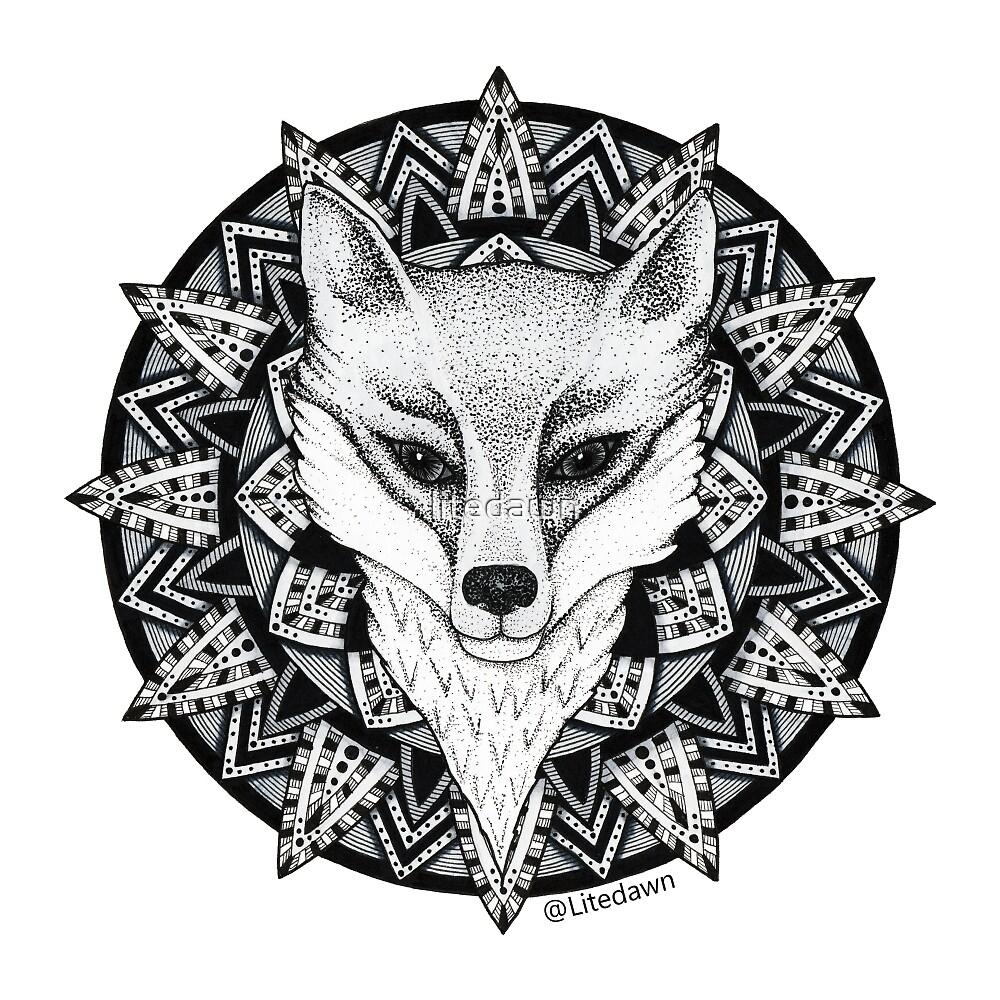 Fox Mandala Sticker  by litedawn