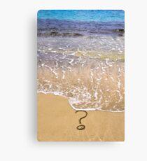 question mark sign in sand beach Canvas Print