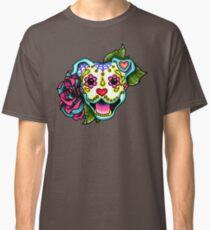 Smiling Pit Bull in White - Day of the Dead Pitbull - Sugar Skull Dog Classic T-Shirt