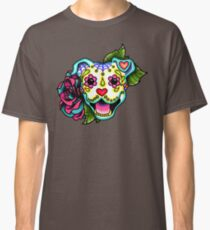 Smiling Pit Bull in White - Day of the Dead Pitbull - Sugar Skull Dog Classic T-Shirt