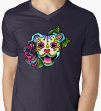 Smiling Pit Bull in White - Day of the Dead Pitbull - Sugar Skull Dog T-Shirt