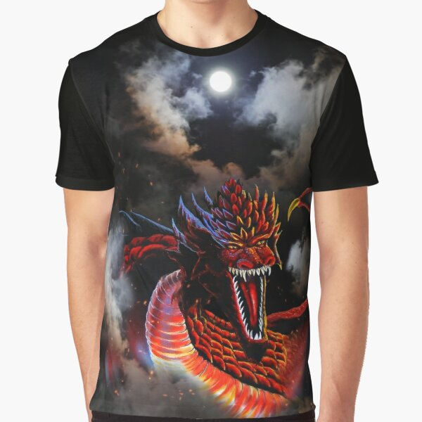 Moon Red Fire Dragon Clouds Graphic T-Shirt