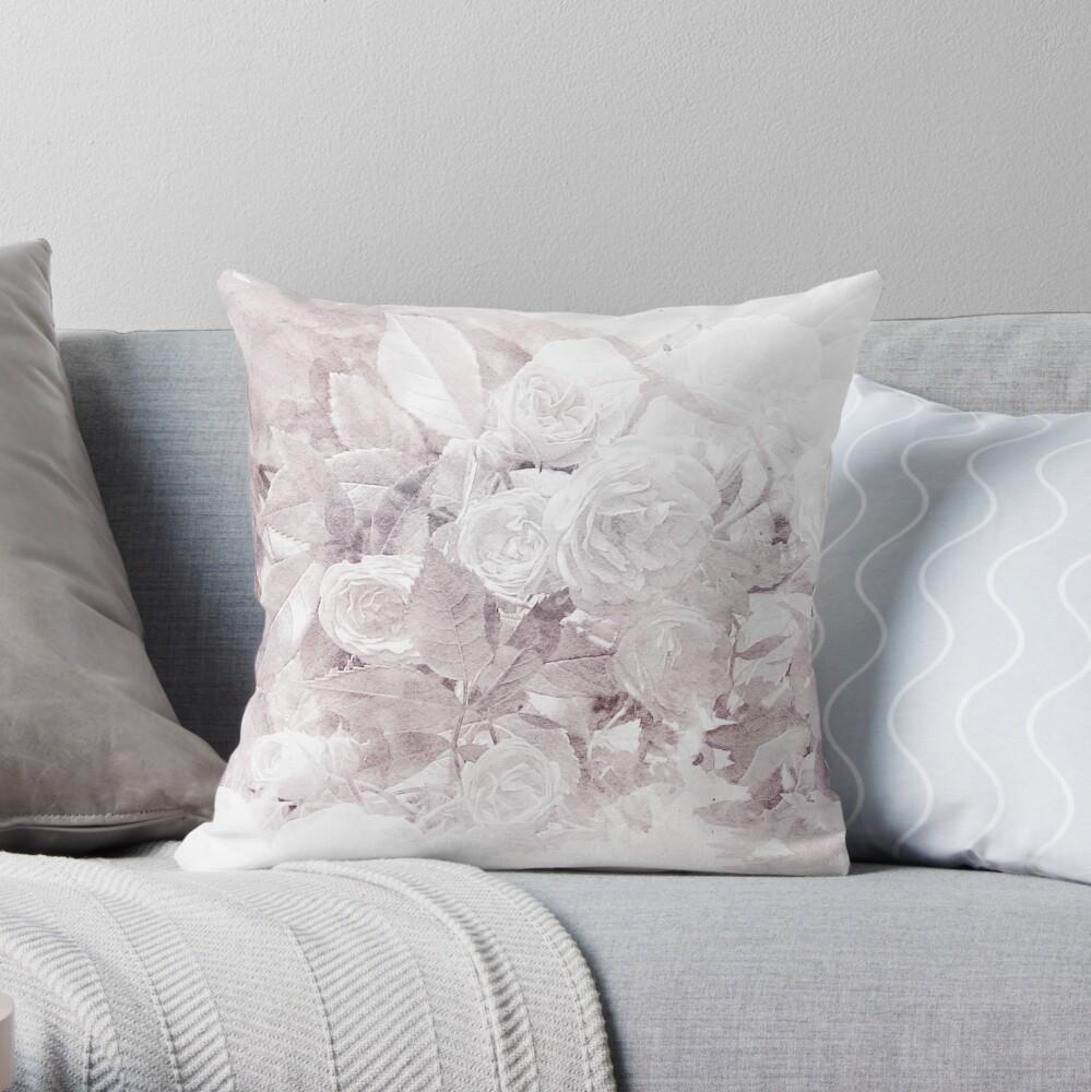 Watercolor Roses Print Throw Pillow