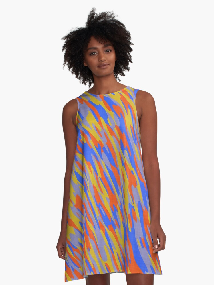 blue orange and yellow camo abstract A-Line Dress Front
