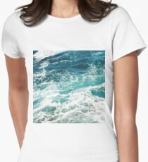 Blue Ocean Waves  Womens Fitted T-Shirt
