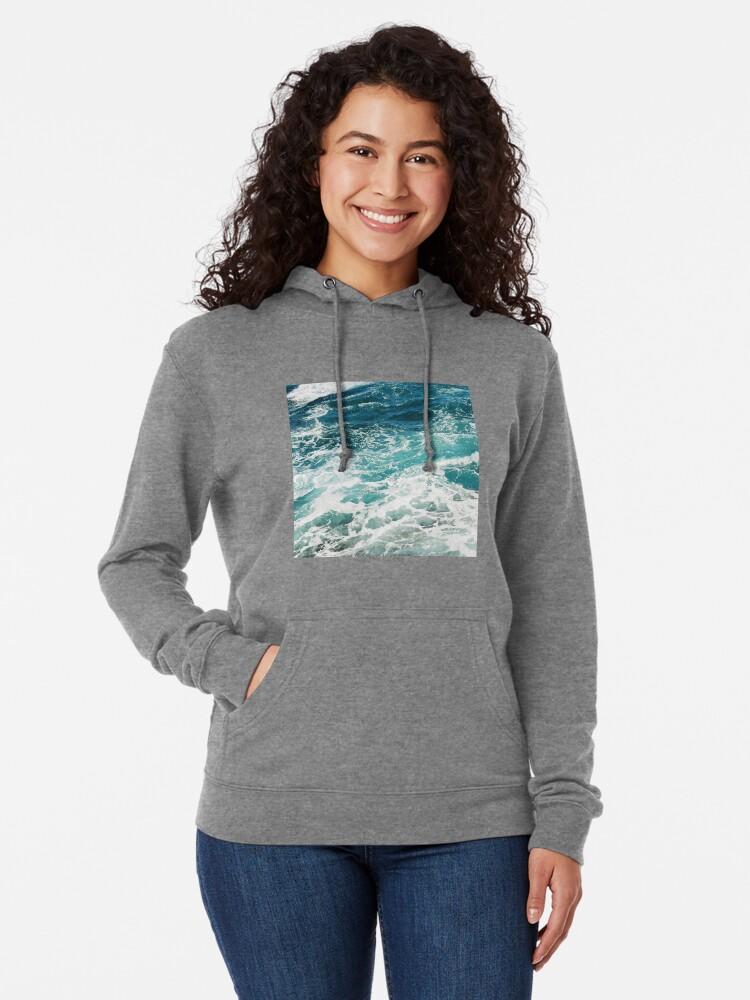 Alternate view of Blue Ocean Waves  Lightweight Hoodie