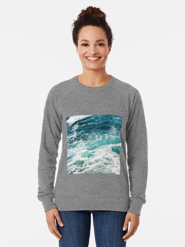 Alternate view of Blue Ocean Waves  Lightweight Sweatshirt