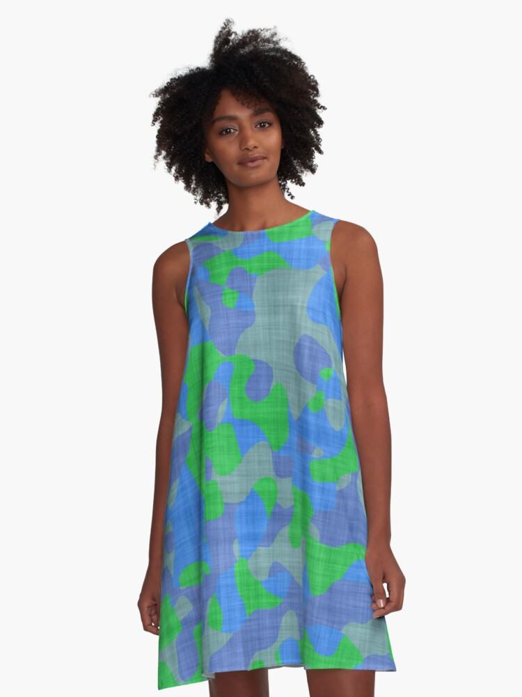 blue and green camo abstract A-Line Dress Front