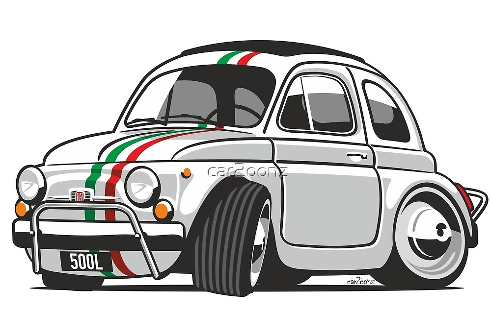 Fiat 500L caricature white by car2oonz