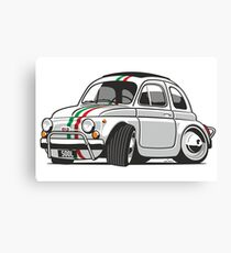 Fiat 500L caricature white Canvas Print