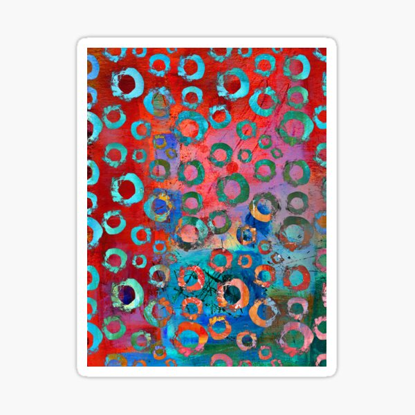 Brightly Colored Contemporary Circle Pattern Sticker