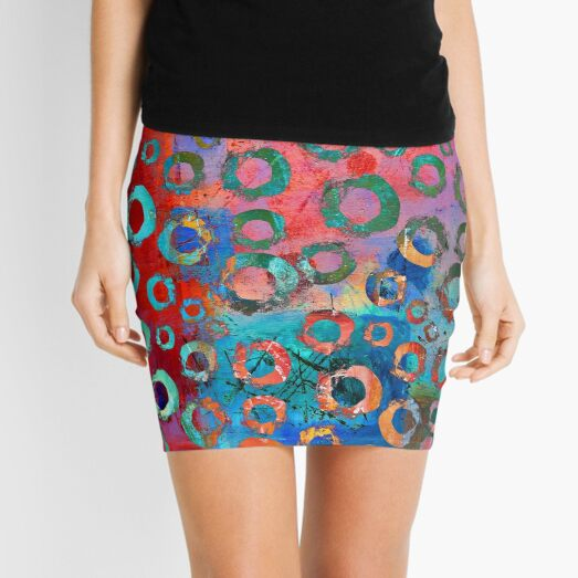 Brightly Colored Contemporary Circle Pattern Mini Skirt