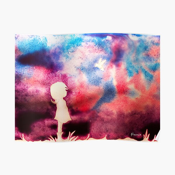Girl and Bird with Purple Sky Poster