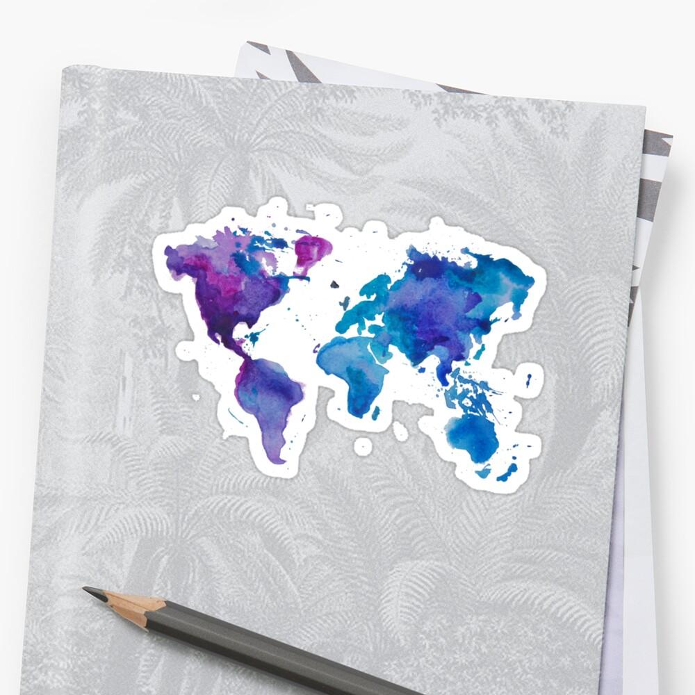 Aquarell Karte der Welt Sticker