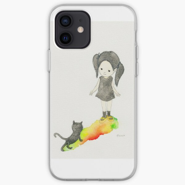Girl and black cat iPhone Soft Case