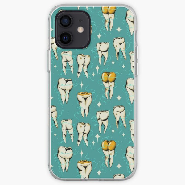 Sweet tooth pattern in turquoise iPhone Soft Case