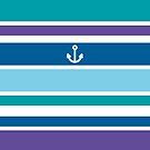 Anchor Coastal Teal Purple Blue Nautical Summer by Beverly Claire Kaiya