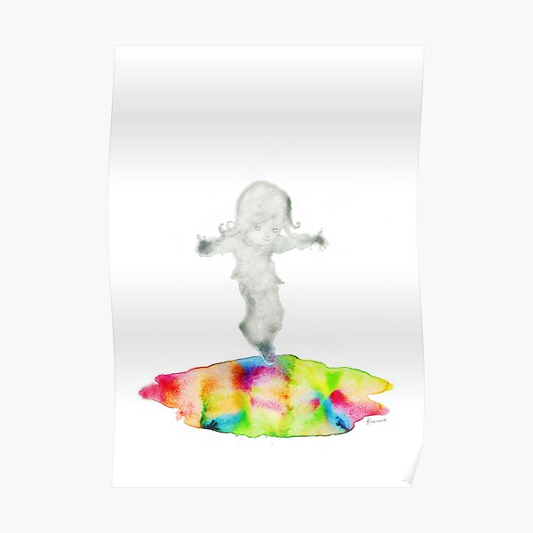 Girl jumping rainbow puddle Poster