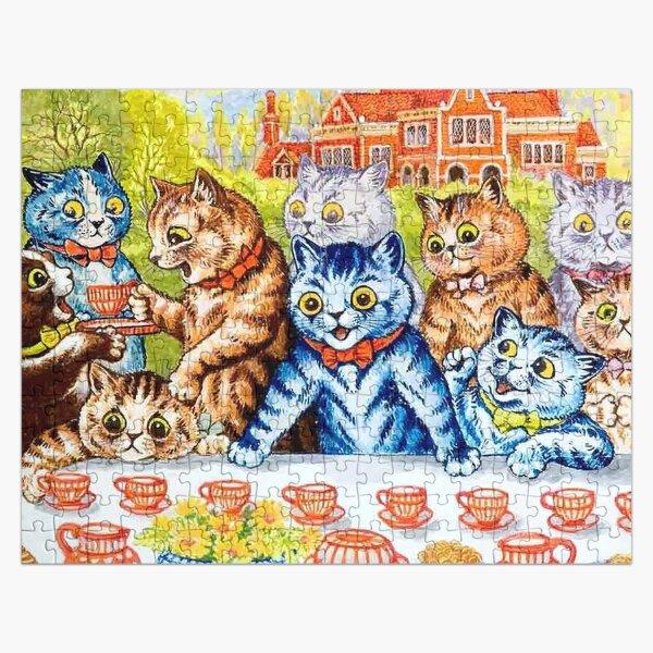 CAT SOCIAL TEA PARTY : Vintage Louis Wain Abstract Print Jigsaw Puzzle