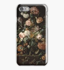 Jan Davidsz De Heem - Still Life With Flowers In A Glass Bowl. Still life with flowers: flowers, blossom, nature, botanical, floral flora, wonderful flower, plants, cute plant for interior, garden iPhone Case/Skin