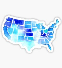 Watercolor United States of America in Blue Sticker