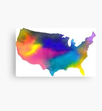 Rainbow Watercolor United States of America Canvas Print