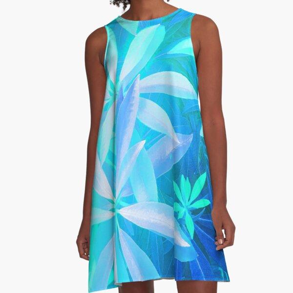 Tropical neon foliage print A-Line Dress