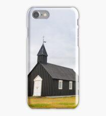 Historic black wooden church in Budir, Iceland iPhone Case/Skin