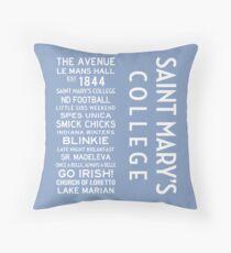 Saint Mary's College White on Blue Throw Pillow