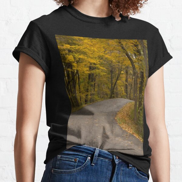 Winding Road Pavement Autumn Fall Trees  Classic T-Shirt