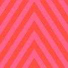 Bold Diagonal Stripes - Orange Pink by Natalie Kinnear