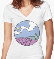 Round Tasmania: Lavender Fields Women's Fitted V-Neck T-Shirt