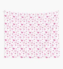 Pink Hearts Pattern Wall Tapestry