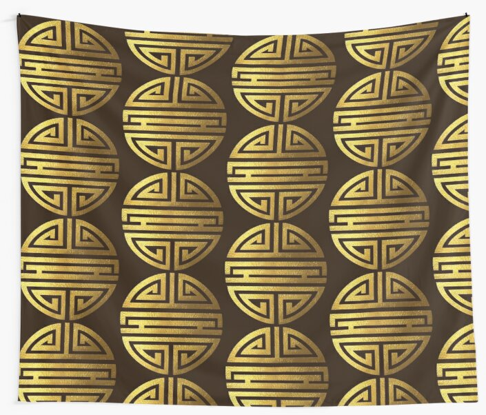 Four Blessings Good Luck Symbol Chinese Buddhism Gold Wall