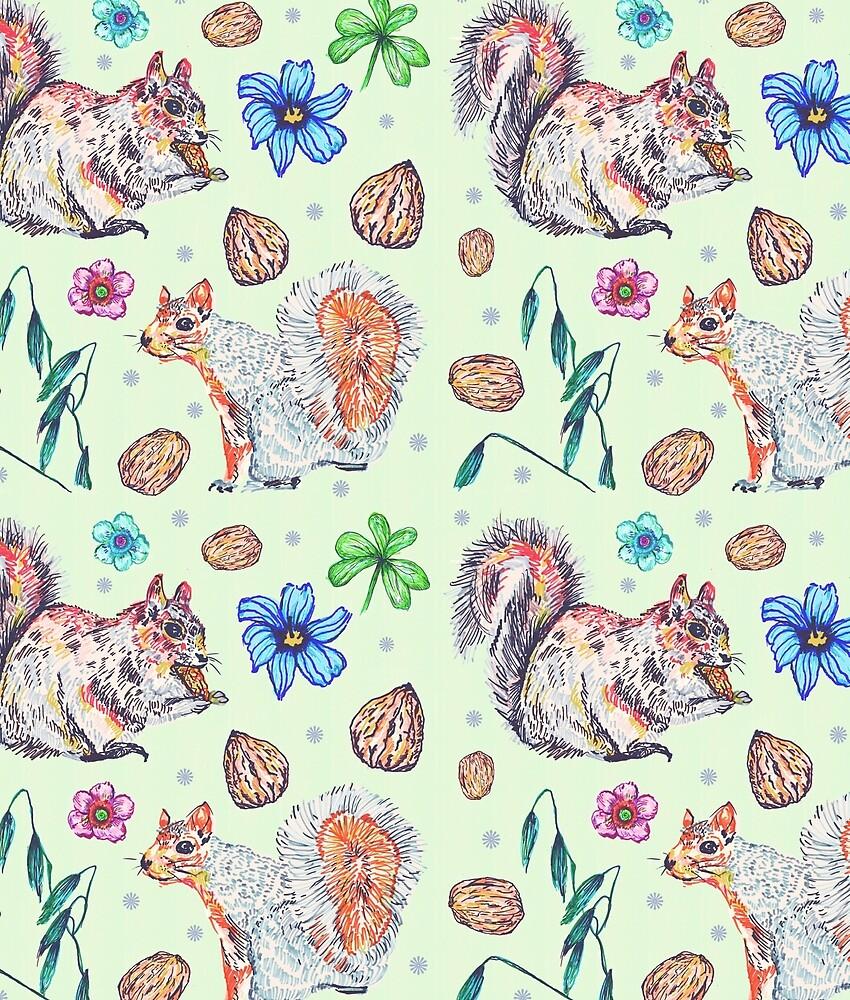 Squirrel Garden by minniemorrisart