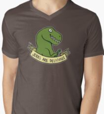 Friendly T-Rexes - Jerks Are Delicious Mens V-Neck T-Shirt