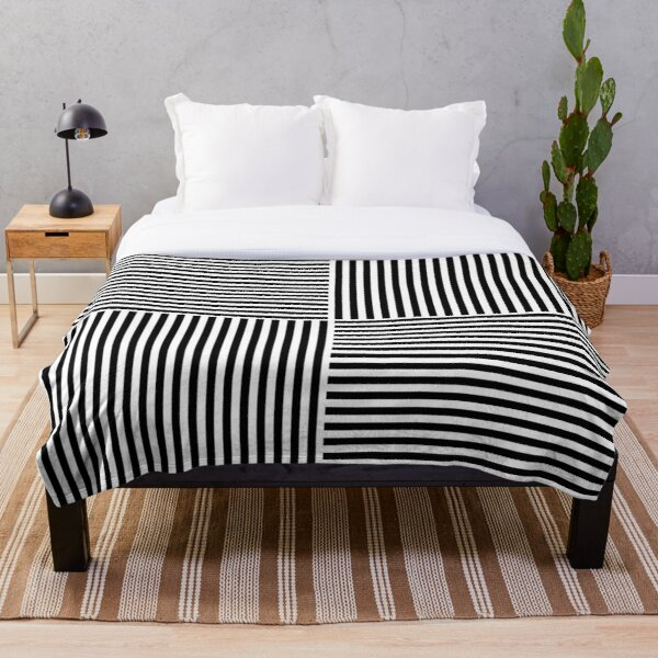 Optical Illusion Art, Horizontal and Vertical Lines ILLusion Throw Blanket