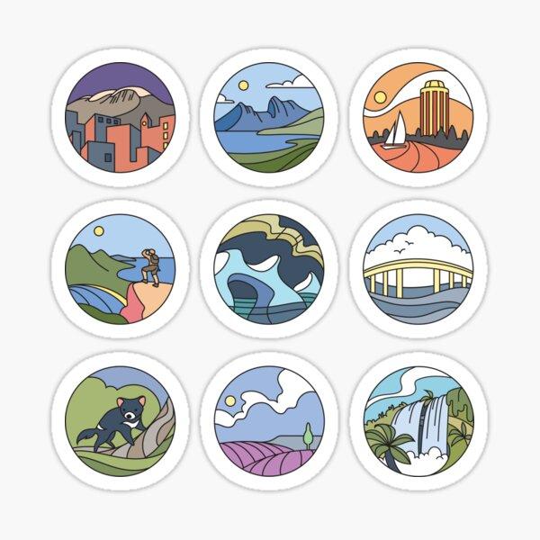 Round Tasmania Vignettes Sticker