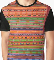 Decorated Stripes Pattern Between Red Graphic T-Shirt