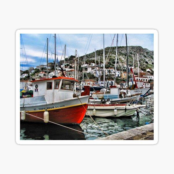Colorful Fishing Boats - Island of Aegina,  Greece Sticker