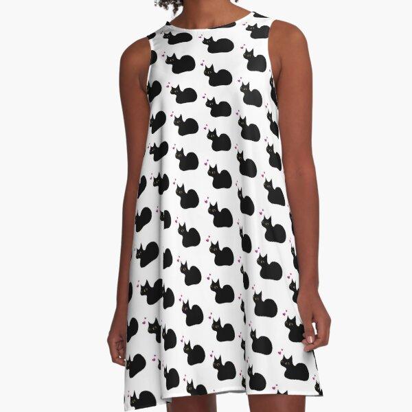 Lucky Black Cat A-Line Dress