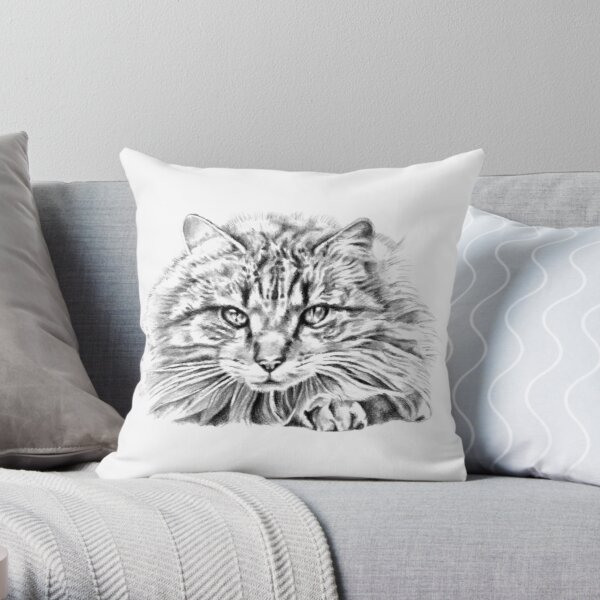 Junior the Cat Throw Pillow