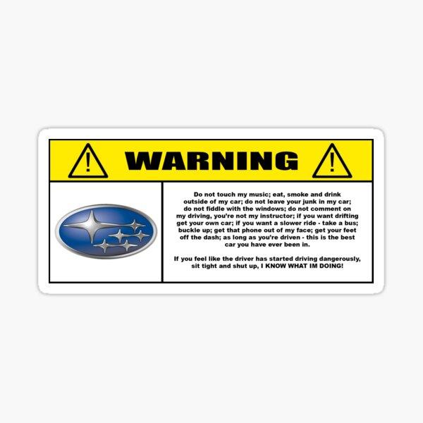 Rules of behaviour in car. Subaru Sticker