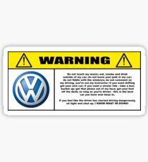 Rules of behaviour in car. Volkswagen Sticker
